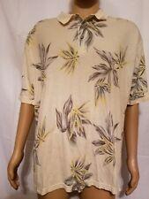 Bamboo Cay Fine Resort Wear Polo Shirt Mens XL Aloha Camp Floral Yellow Cream