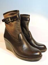 TORY BURCH Primrose Wedge Bootie Lamb Fur Brown Leather Ankle Shoes Women's 7