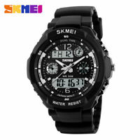 SKMEI Men's Waterproof Sport Army Alarm Date Analog Digital Black Wrist Watch UK