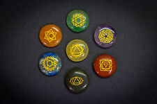 7 Chakra Stones Set. Engraved Healing Crystal. Reiki Tumble Gemstone. Gift set