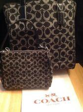 COACH black gray signature C tote bag leather Trim +Matching Wristlet Wallet EUC