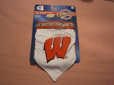 Pet First-Wisconsin Badgers Collar/Bandana-Sz Lrg-Relfective-Red/White-NWT