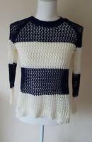 Jane Norman Womens Striped Navy / White Crochet Jumper Size 8 <CX6775