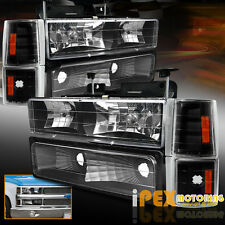 1994-1998 GMC 1500 2500 3500 Sierra Yukon [8PC] Black Headlights+Signals+Corner