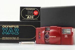 【 UNUSED in Box 】 Olympus XA2 RED w/ A11 Flash 35mm Film Camera From Japan #679