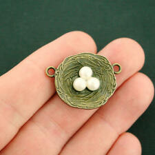 2 Bird Nest Connector Charms Antique Bronze Tone With Faux Pearl Eggs - BC640