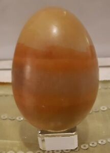 Vintage yellow ochre crystal stone egg banded calcite 90 x 150 mm