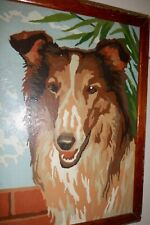 Vintage Mid Century Painting Collie Dog Paint By Number Wall Art Wood Frame