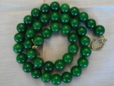 Antique Vintage Natural Chinese Jade Beads Necklace Dark Green 116 Grams !