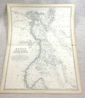 1861 Antique Map of Arabia Egypt Lower Nubia Engraving Hand Coloured Johnston
