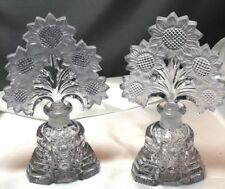 Pair Vintage Perfume Pressed Glass Bottles w Huge Figural Flower Stoppers! Czech