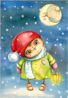 LITTLE OWL WITH SMALL LANTERN on snowy night Modern Russian postcard