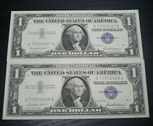 Series of 1957, 2 Consecutive $1 Silver Certificate ~ Crisp Uncirculated