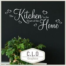 """Kitchen Quote Wall Sticker Vinyl Transfer Decor """"The Heart of The Home"""". Decal"""