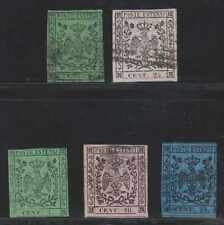ITALY MODENA 1852-57 Sc 1, 4 & 6-8 BLACK OR BLUE MUTE CANCELS SCV$692.50