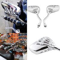 FOR SHADOW REBEL750 1100 VTX VT1300 1800 NEW Chrome Skull Hand Rearview Mirrors