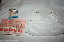Original 50er Jahre Windelhose Gummihose Kinder Knöpfe PVC Gr. 4 Weiß Vintage