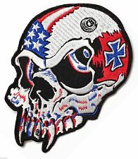Vampire Skull American Flag Iron Cross - Iron on patch - Embroidered Applique