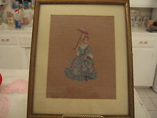Beautiful Vintage Framed Needlepoint Picture Of A Victorian Woman