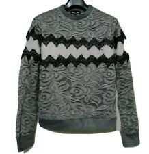Gray Lace Pullover Wool Blend