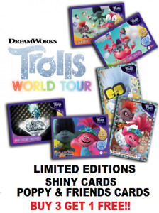 Topps TROLLS WORLD TOUR ☆ FOILS SHINY'S LIMITED EDITION CARDS BUY 3 GET 1 FREE!!