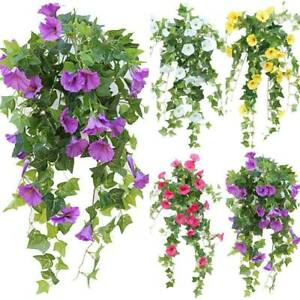 Artificial Morning Glory Hangings Flowers Leaves Plants Garden Home Decorations