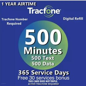 TracFone 1 Year Service Plan - 365 Days + Bonus+ 500 Minutes/ 500 Text/ 500 Data