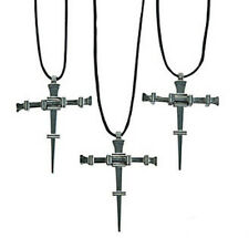 12x Pewter Nail Cross Necklaces - Christian Religious Inspirational Biker Gothic