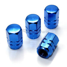 4 Blue Aluminum Tire/Wheel Air Pressure Valve Stem CAPS for Auto-Car-Truck-Bike