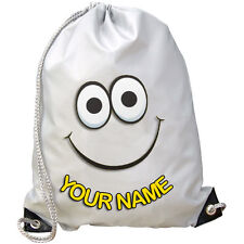 SMILEY FACE PERSONALISED GYM / SWIMMING / PE BAG - GREAT GIFT & NAMED TOO