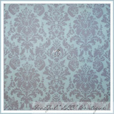 BonEful Fabric FQ Cotton Quilt Baby Blue Gray Brown Damask Flower Cottage Toile