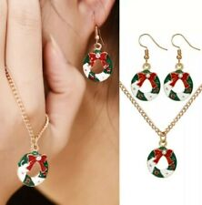 Christmas Wreath Flower Red White And Green Necklace And Earring  Set