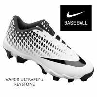 Nike Baseball Cleats VAPOR ULTRAFLY 2 KEYSTONE White Black Big Kids Youth 5 Y