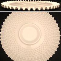 """Fenton Milk Glass Hobnail Ruffled Serving Platter Centerpiece USA 13.5"""" Diameter"""