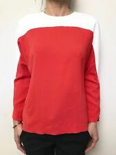 Saba Blood Orange White Shell Top 3/4 Sleeve Sz 8