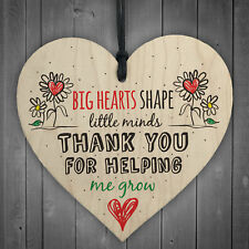 Teacher Leaving Gift Nursery Wooden Heart Plaque Childminder Preschool Thank You