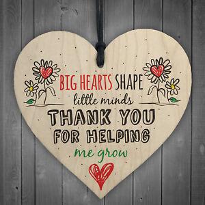 Teacher Leaving Gift Nursery Wooden Heart Plaque Childminder Preschool Thank You