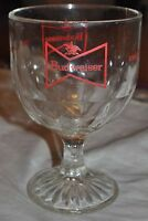 Budweiser King of Beers bowtie stemmed thumbprint goblet glass 12 oz heavy