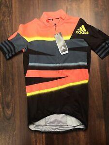 New Adidas Mens Adistar Crtr Cycling Jersey Size Large Black Orange Yellow