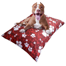 """Large Dog Bed Cover 30""""x40"""" Replacement Washable Pet Mat Cushion Cover Red Paws"""