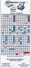 1989-1990 VILLANOVA WILDCATS FOOTBALL - BASKETBALLL - TRACK MAGNET SCHEDULE SKED