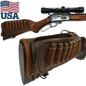 Dark Brown Leather Canvas Rifle Shell Holder Bag,Ammo Gun Rest Pad Buttstock USA