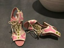 Women's Vintage SERGIO ROSSI Pink, Green + White Geometric Sandals Size 40