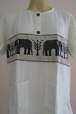 Elephant Logging Hand Stich Lanna Northern Thai T Shirt L LE09