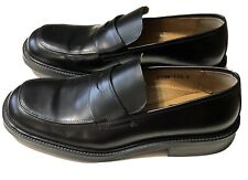 Men Bass Black Leather Dress Shoes Penny Loafers Made in Italy Sz 11.5