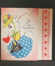 Vintage Valentines Day Card Be My Valentine Bunny Rabbit Unused Opens for verse