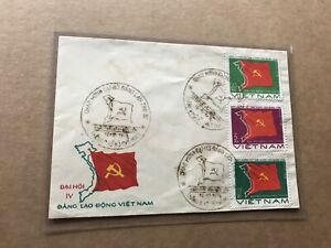 Viet Nam 1976 FDC + Map & Ruling Party's Flag +3 Values #839//844 +Cachet +Cxls