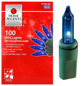 HOME ACCENTS HOLIDAY 100-COUNT BLUE INCANDESCENT MINI LIGHTS WITH GREEN WIRE