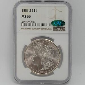 1881-S Morgan Silver Dollar NGC MS66 CAC Exceptional Eye Appeal Graded Free Ship