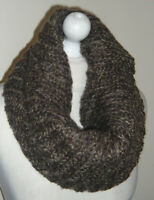 Brown 70% Wool Mix Knitted Infinity Short Scarf Double Layer Cowl Neck Warmer